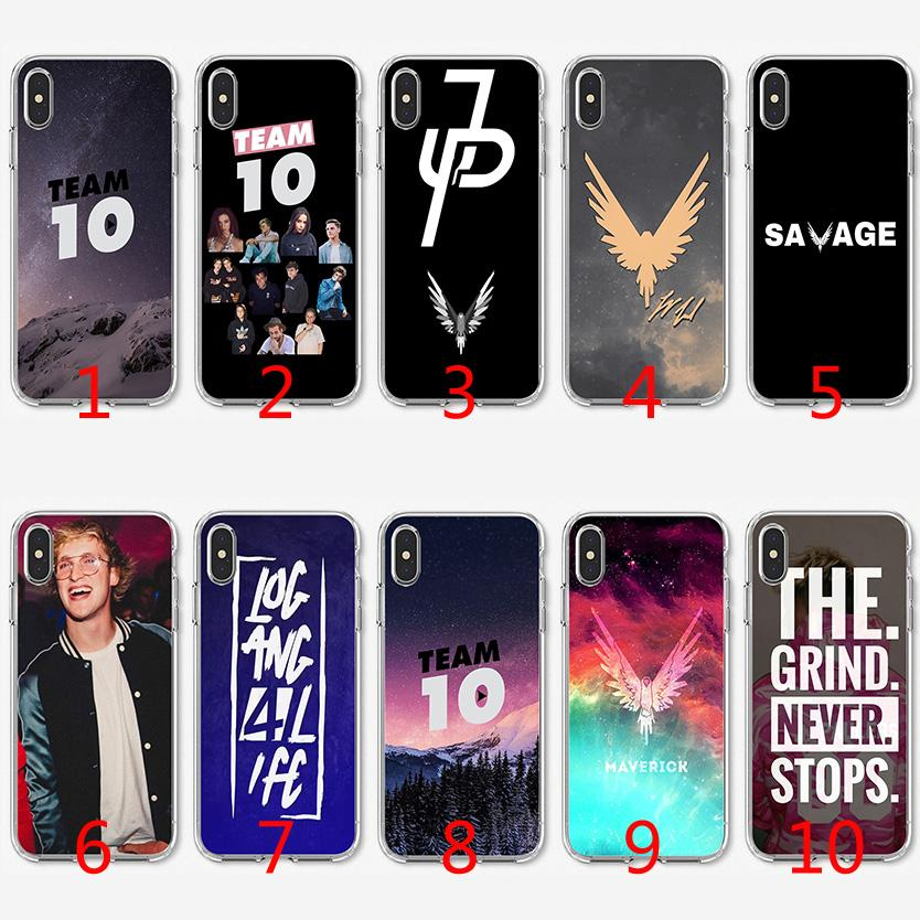 new style 39d3d 65f72 Team 10 Jake Paul Soft Silicone TPU Case for iPhone X XS Max XR 8 7 Plus 6  6s Plus 5 5s SE Cover