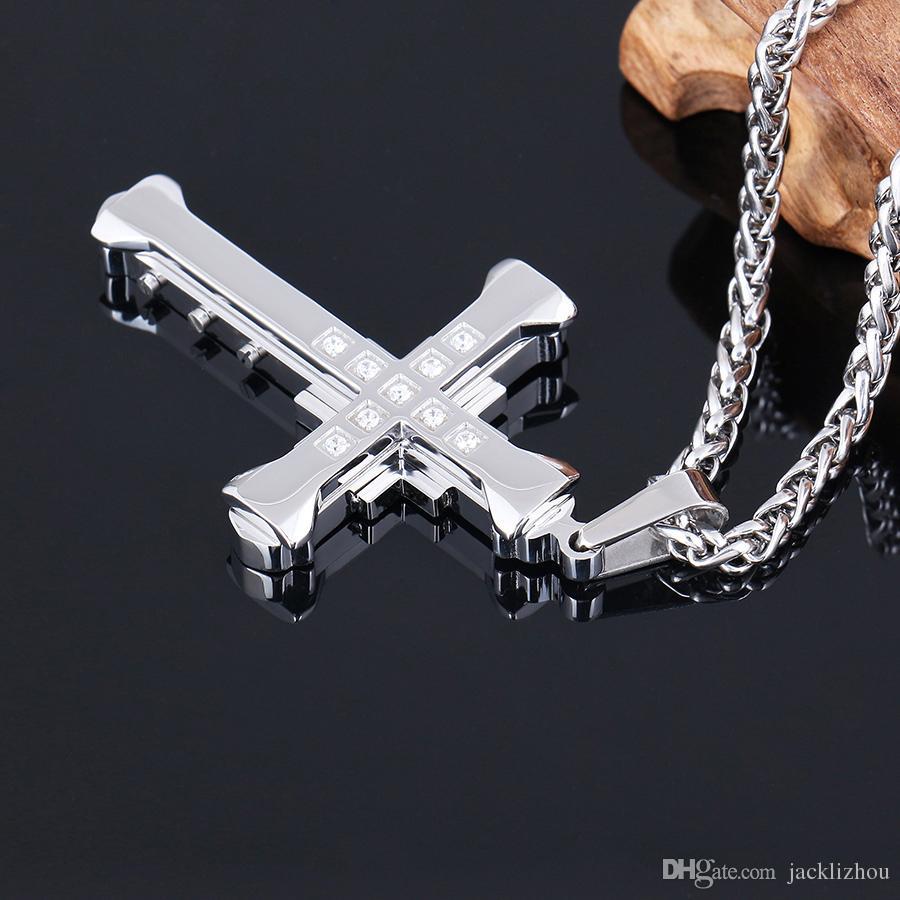 Collana con ciondolo croce in acciaio inossidabile uomo donna, 22-24 pollici