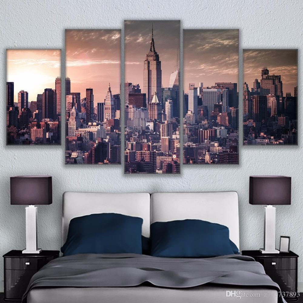 effdcc90504 2019 HD Printed Canvas Painting Wall Pictures Modern Art Modular Poster 5  Panel New York City Building Frame Living Room Home Decor From Z793737893