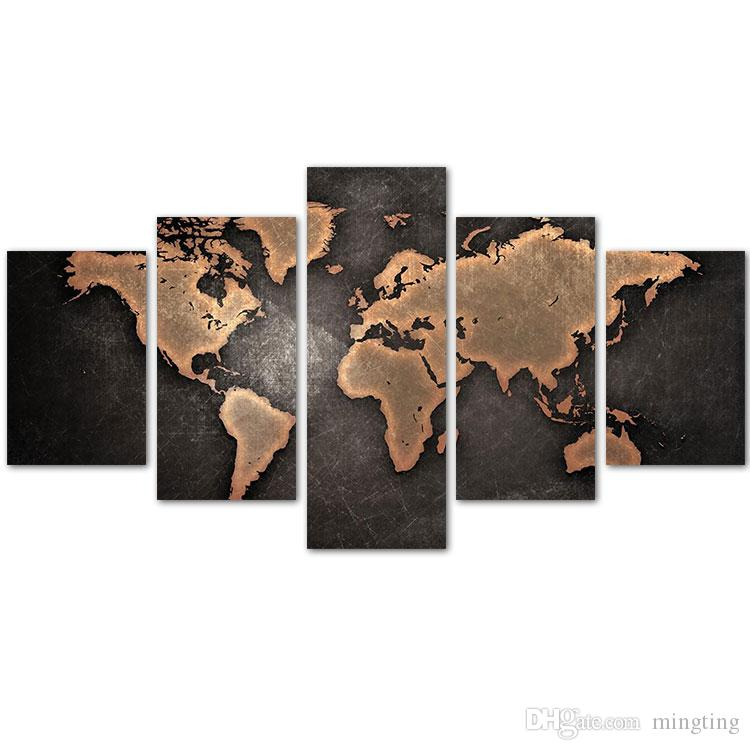 2018 mingting 5 panel canvas wall art old world map poster painting 2018 mingting 5 panel canvas wall art old world map poster painting modern home decor for living room study room no frame from mingting 2895 dhgate gumiabroncs Image collections