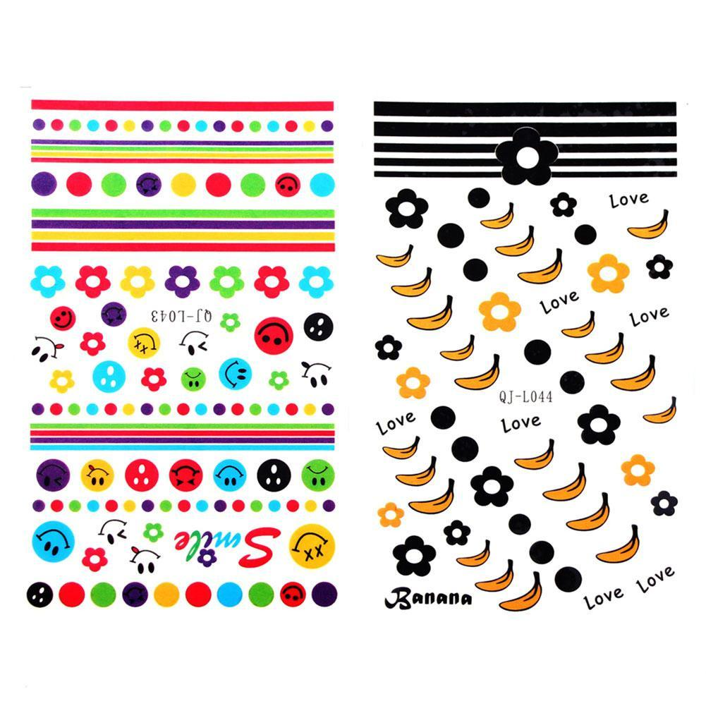BellyLady 20 Pcs/Set Colorful Water Transfer Nail Sticker Lovely Letter Flower Butterfly Nail Art Decorations Decals