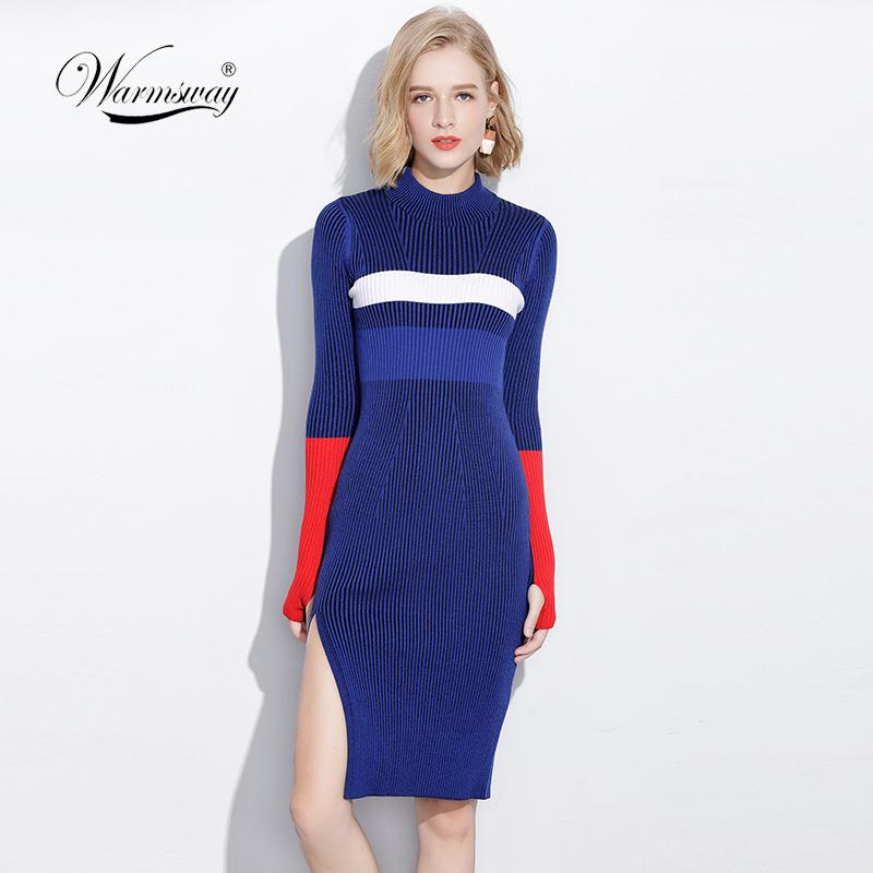 4dddb3be82d 2018 Warm And Charm Women Dresses Fall Winter Long Sexy Bodycon Split Dress  Elastic Striped Knitted Sweater With Thumb Hole C 066 C18110701 From  Shen8407