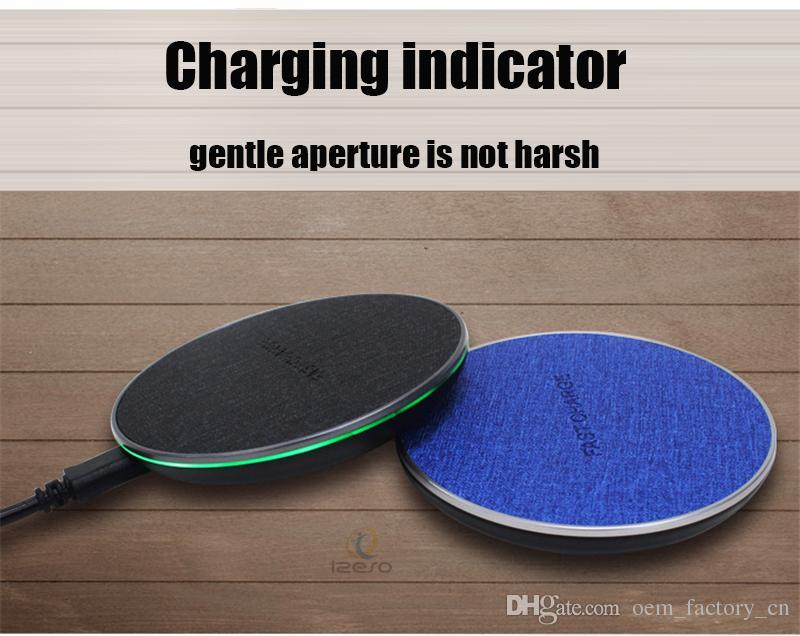 Ultra Ince 10 W QI Kablosuz Şarj Hızlı Şarj Pad Perakende Paketi ile iPhone Samsung için Tuval Masaüstü Mini Cep Telefonu Şarj Mat