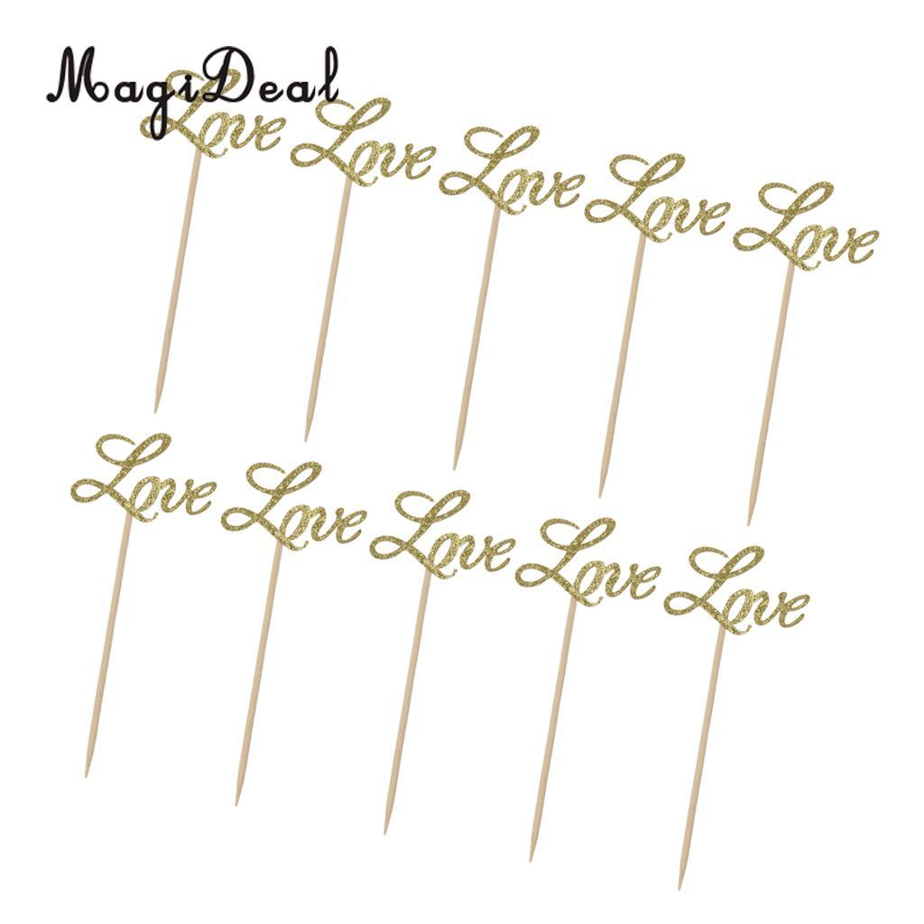 MagiDeal 10x Glitter Paper Gold LOVE Cake Cupcake Toppers Toothpicks Wedding Party Decor