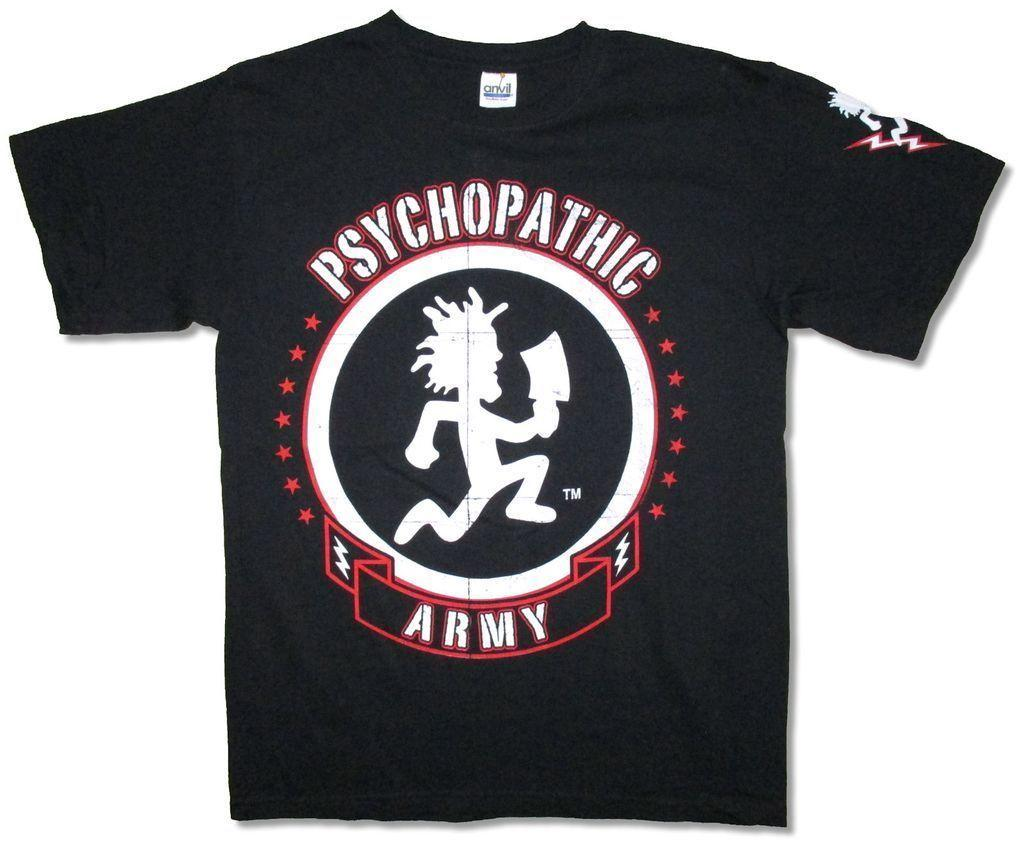 Insane Clown Posse Psychopathic Army Black T Shirt New Official ICP Design T  Shirt Men S High Quality New Fashion Men S T Shirt Best Deal On T Shirts  That T ... d995227b8e9