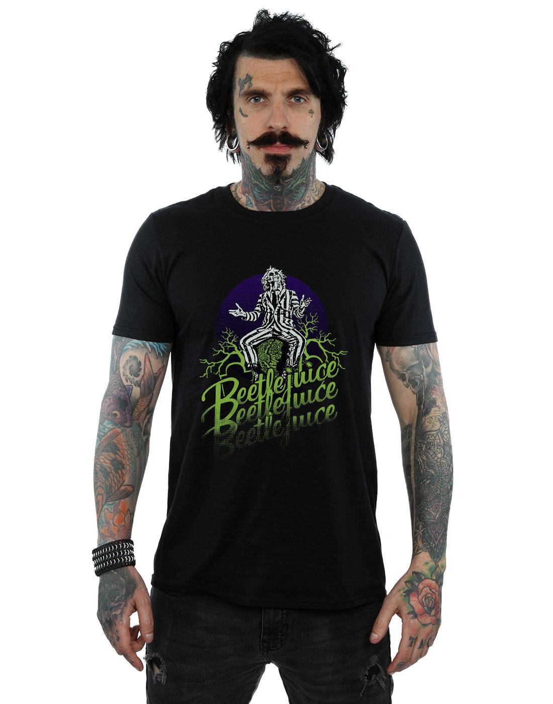 Beetlejuice Men s Faded Pose T-Shirt Casual Plus Size T-Shirts Hip Hop  Style Tops Tee S-3Xl