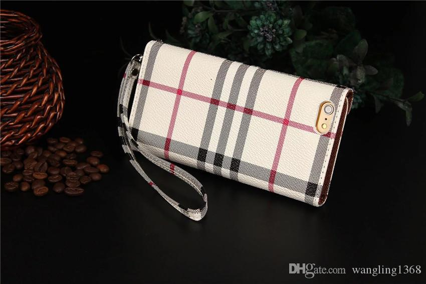 Luxurious Grid Leather Flip Stand Wallet Cases for iPhone X 8 8plus With Card Pocket Lanyard Handbag Case for iPhone7 7plus 6s Plus