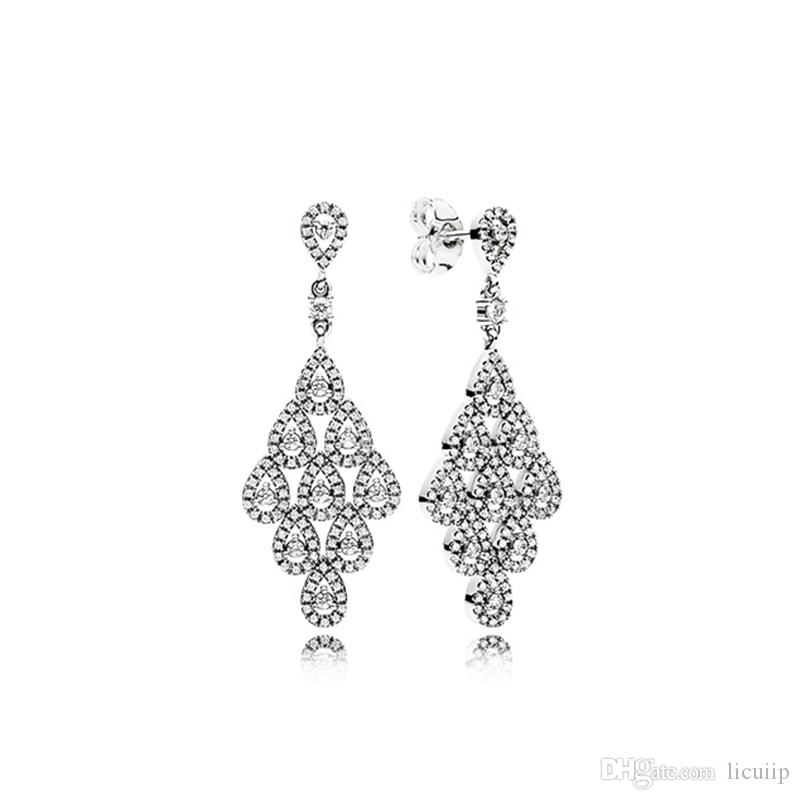 ce55212e6 2019 Authentic 925 Sterling Silver Drop Tears Earrings With Original Box  Fit Pandora Charm Stud Earring For Women Wedding Gifts From Licuiip, ...
