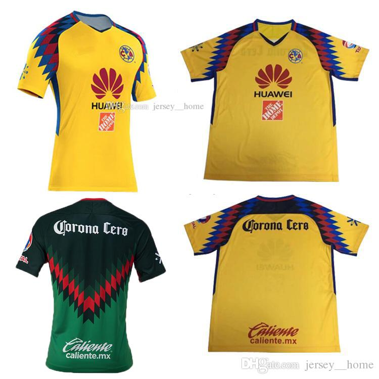 a1dc5667949 Club America Aguilas 2018 camiseta de futbol Mexican League soccer jerseys  top quality yellow Mexico american club GREEN football shirt