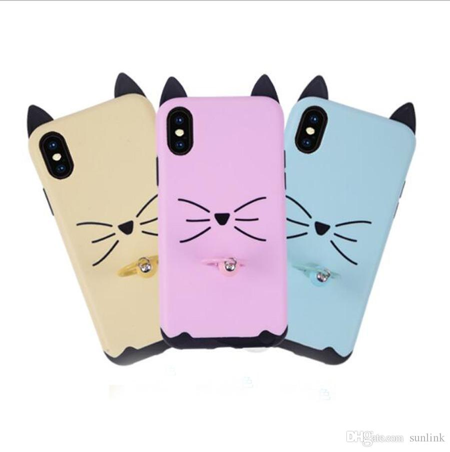 Cute Case Ring Holder Cell With Cat Beard Bell Pattern Multi Colors ...
