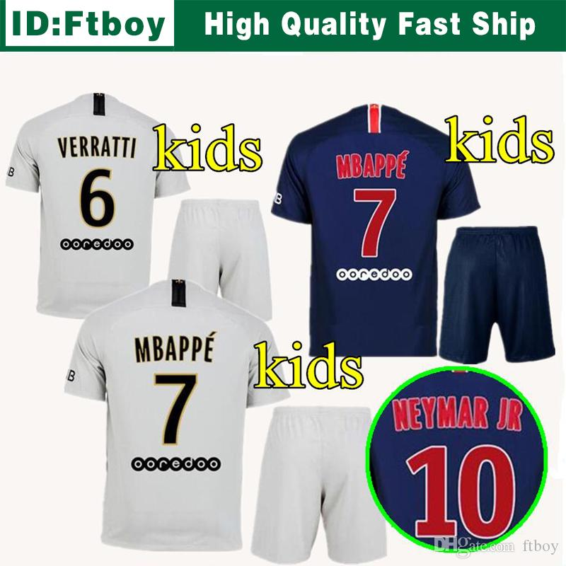 09921ab83 2019 Kids Kits Home Away NEYMAR JR PsG New Soccer Jersey 18 19 ...