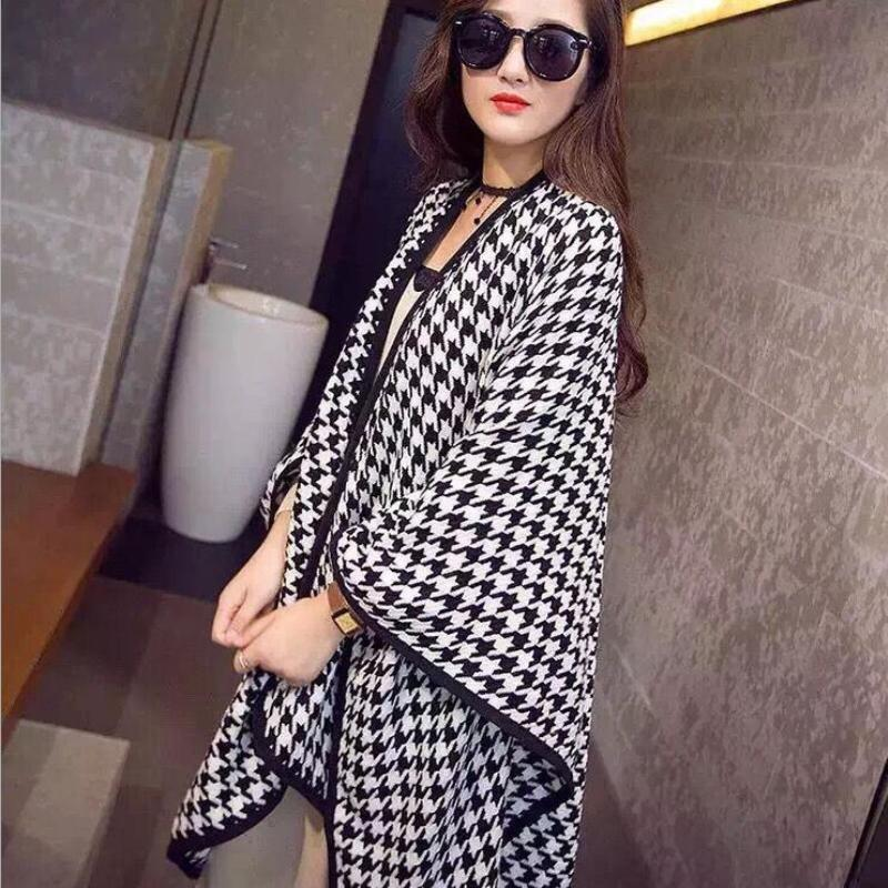 New Women Scarves Shawl Houndstooth Poncho Cape Coat Blanket Wrap Muffler Thick Warm Cloak Wool Shawl Plaid