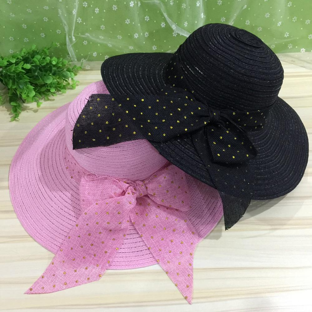 2017 Straw Hats For Women s Female Summer Ladies Wide Brim Beach Hats Sexy  Chapeau Large Floppy Sun Caps Large Bows Sun Kentucky Derby Hat Cheap Hats  From ... 809c6415a648