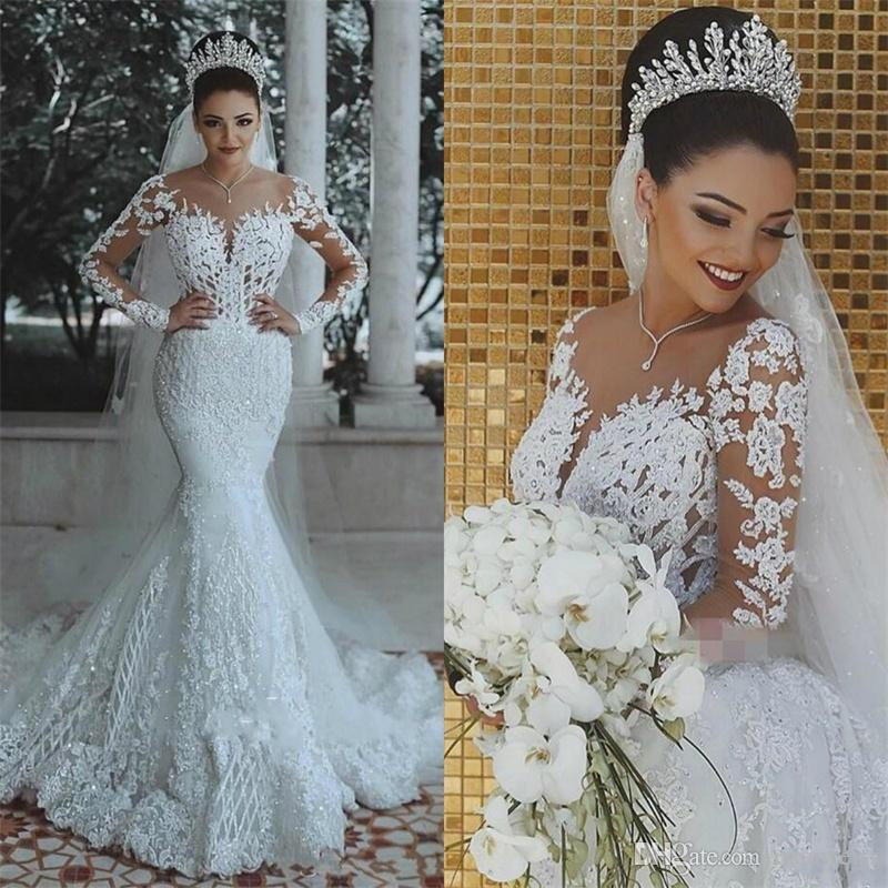 de5468aeec 2018 Latest Mermaid Wedding Dresses Detachable Train Long Sleeves Applique  Lace Bridal Gowns Vestios De Novia South Africa Bride Dress Mermaid Gowns  Mermaid ...