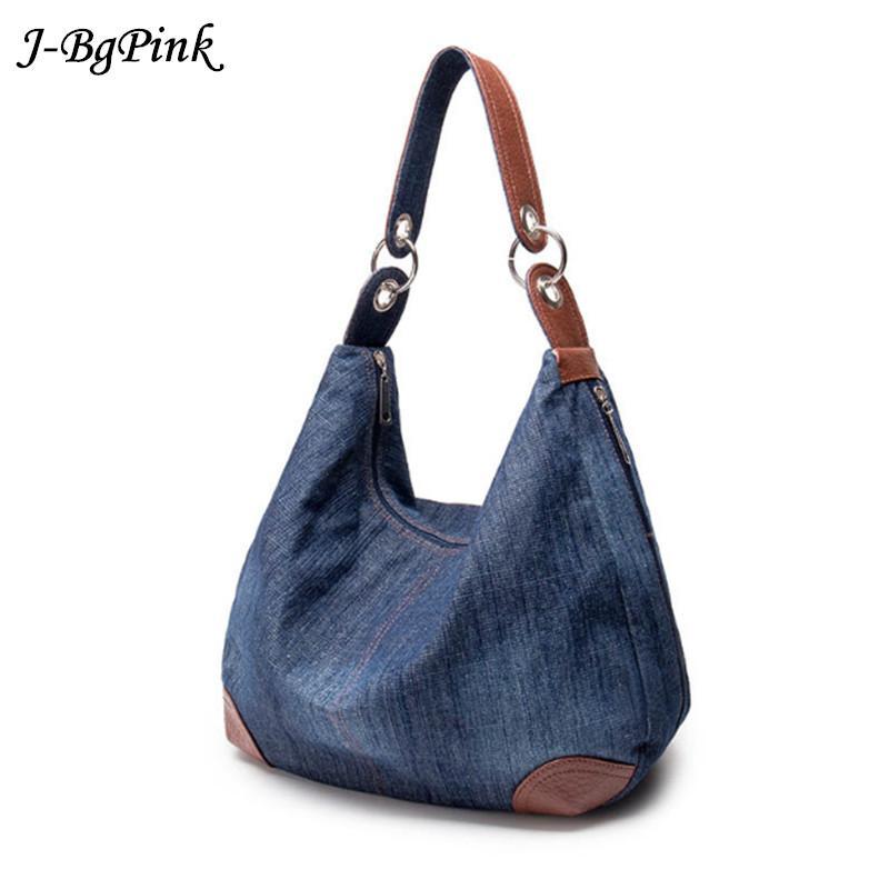 2017 Large Luxury Ladies Denim Handbag Big Shoulder Bag Blue Jeans Handbag  Jean Denim Tote Crossbody Ladies Shoulder Bag Handbag Brands Cheap Bags From  ... 9ac7d1aa543f1