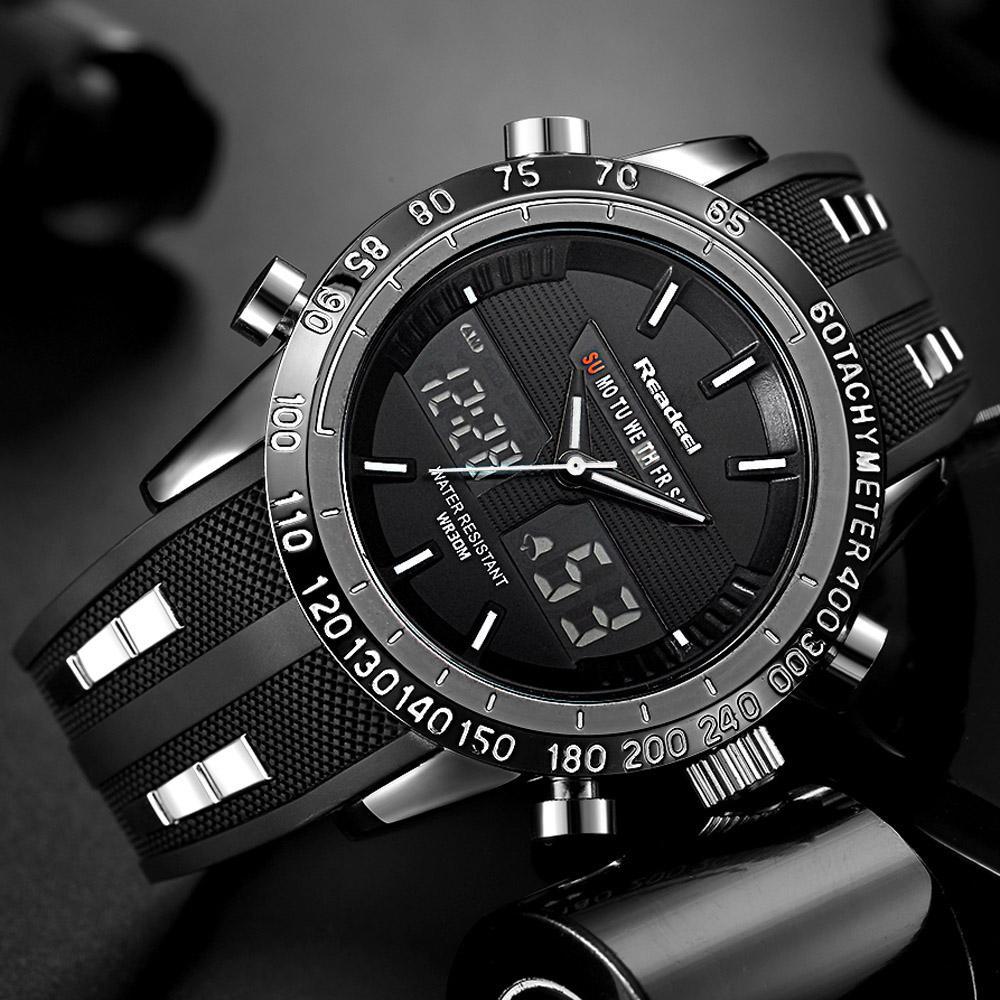 ba4c509d4c1 Compre Marca De Luxo Homens Esportes Relógios À Prova D  Água LED Digital  De Quartzo Homens Militar Relógio De Pulso Relógio Masculino Relogio  Masculino De ...