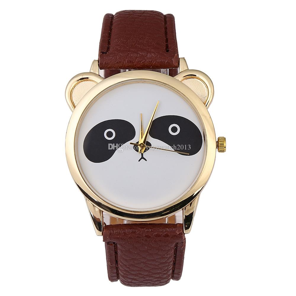 Fashion men women students boys girls lovely panda design leather watches wholesale casual cartoon simple quartz wrist watches