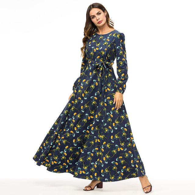 199404df0cf Women Long Sleeve Flower Print O Neck Elegant Ladies Fashion Abaya Muslim  Islamic Turkey Middle Eastern Dubai Casuam Plus Size 3XL 4XL Dress Floral  Sundress ...
