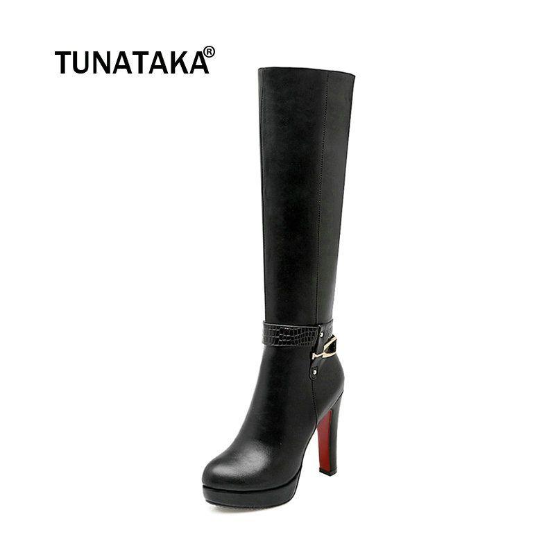 8c59462b6281 Women's Zip Platform Square High Heel Knee High Boots Fashion Winter Round  Toe Shoes Woman White Black Apricot