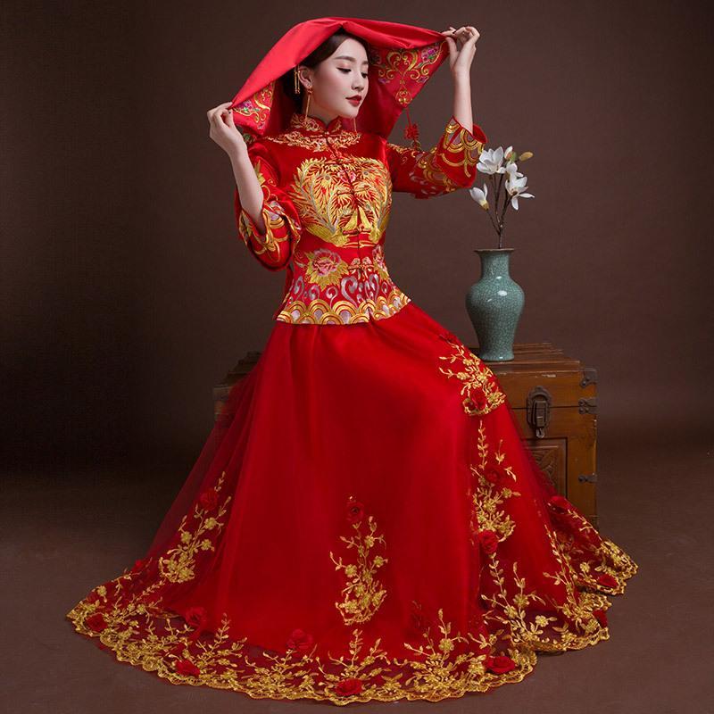 f9adf0ba5495 Acquista Sposa Tradizioni Donna Phoenix Ricamo Cheongsam Lungo Qipao Abito  Da Sposa Abiti Tradizionali Cinesi Cina Negozio Di Abbigliamento A  132.3  Dal ...