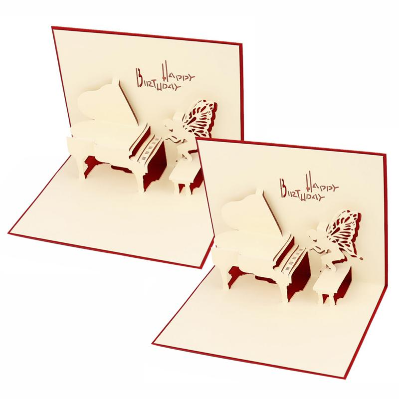 Red Music Piano 3d Pop Up Cards Paper Carving Festival Business ...