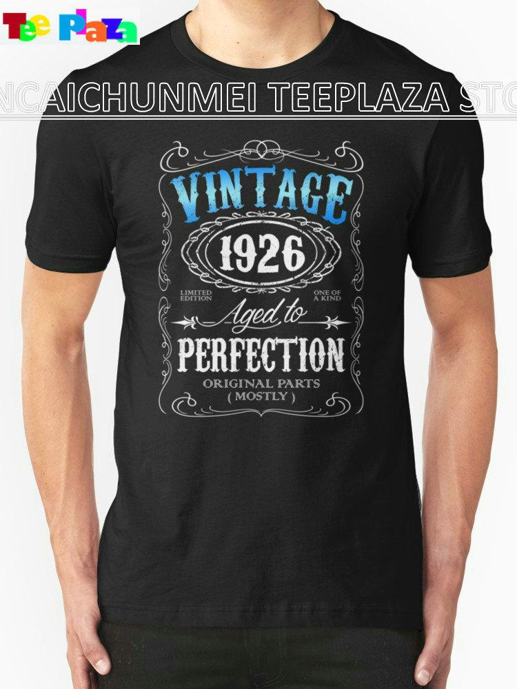 Teeplaza Make Your Own Tee Shirt Short Printing Machine O Neck Vintage 1926 Aged To Perfection 90Th Birthday T Shirts For Men Funny Slogan Cool