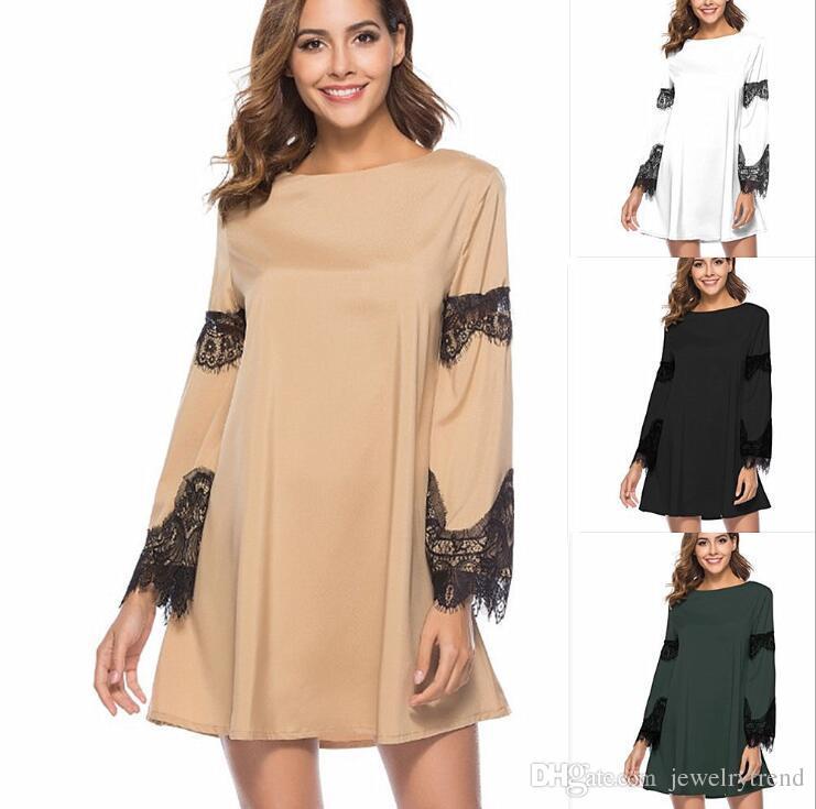 79d8435d3d54 New Europe Fashion Women S Tops Dress Lace Patchwork Long Sleeve Short Dress  Lady S Loose Dresses C3323 Light Purple Dresses For Juniors Knit Sundresses  ...