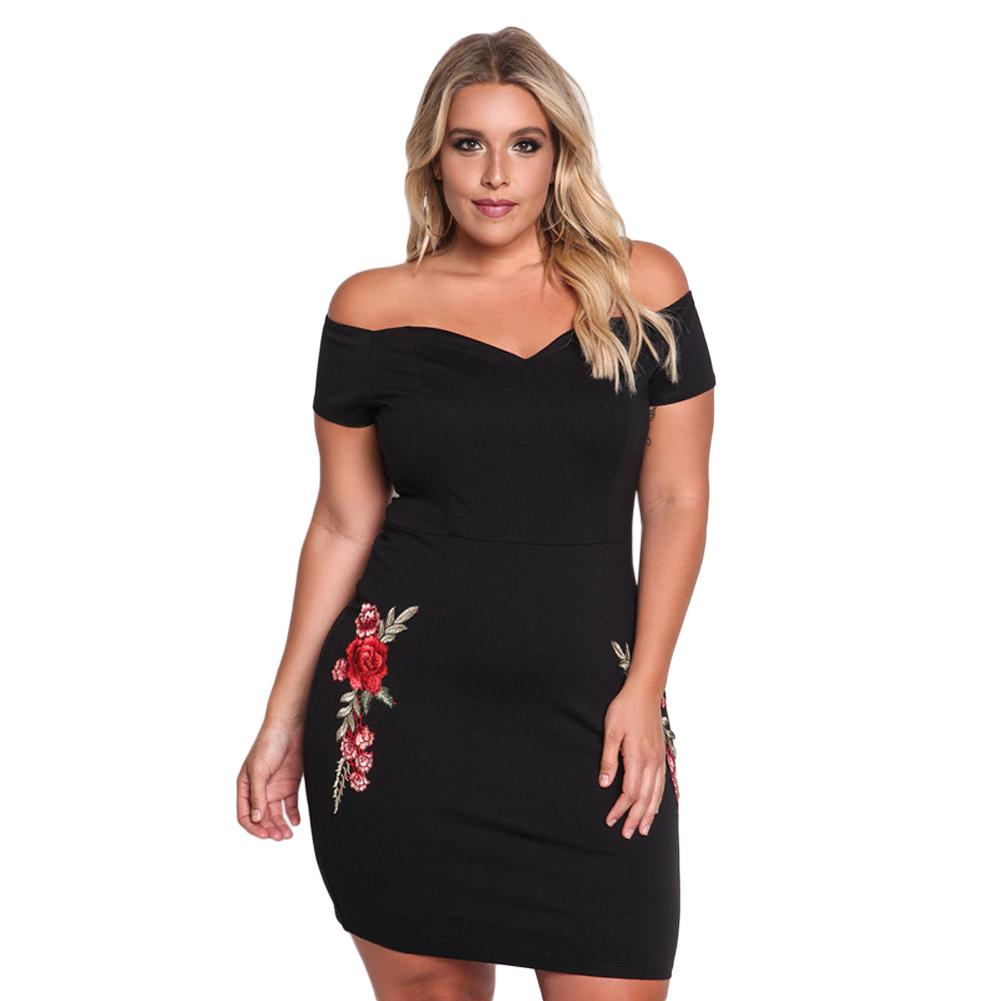 fdfe4ada0d7 Sexy Off Shoulder Dress Women Plus Size Pencil Dress Big Large Size Bodycon  Summer Casual Party Dresses Black Vestido De Festa Dress Of Women White  Lace ...