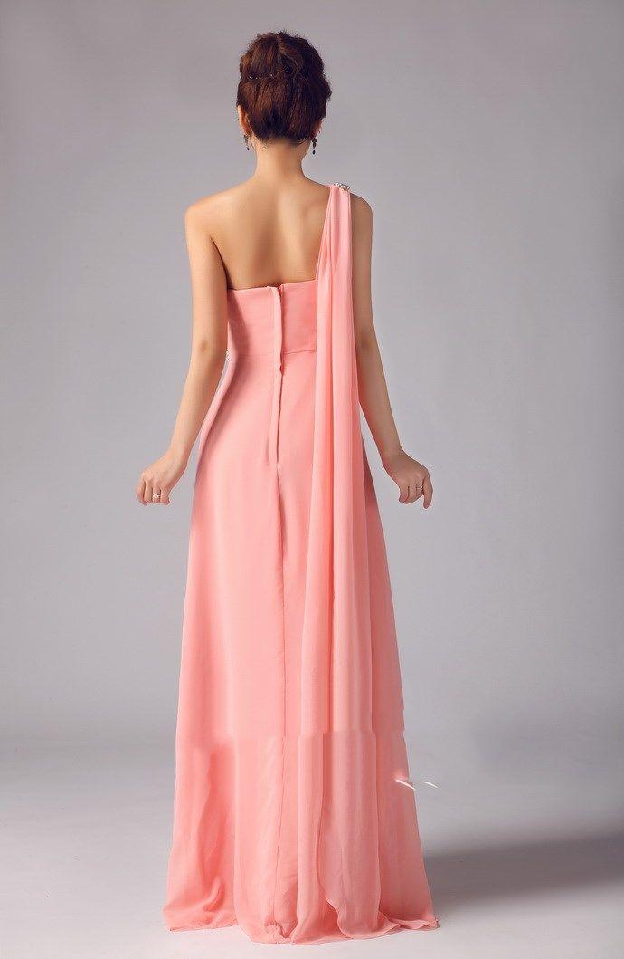 Peach A Line Chiffon Simple One Shoulder Peplum Floor Length Crystal Evening Dress Sexy Prom Dress
