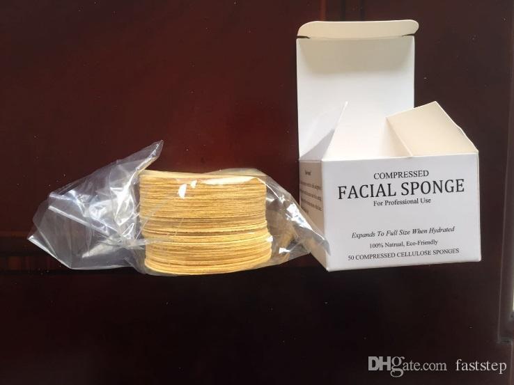 2018 éponges faciales en cellulose naturelle comprimée 50 unités éponge comprimée de 65 mm * 10 mm pour usage professionnel / ensemble