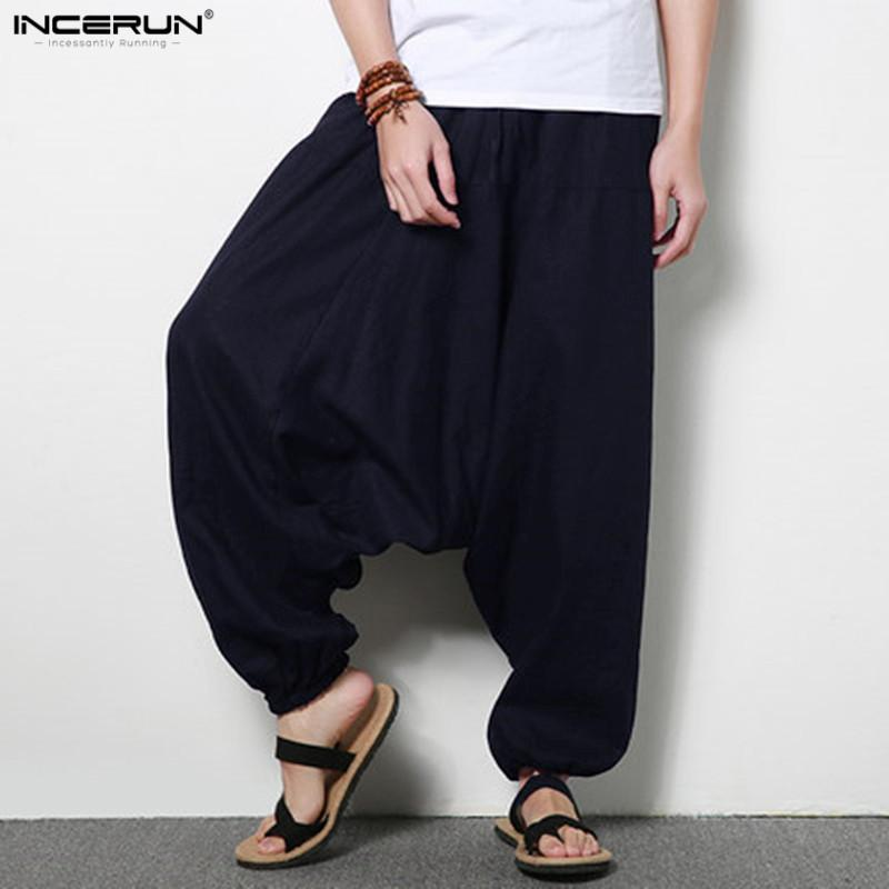 b36c7f19d2e 2019 INCERUN Stylish Men S Casual Loose Pants Loose Wide Legs Trousers  Cotton Linen Drop Crotch Harem Mens Pants Plus Size 4XL 5XL From  Buttonhole
