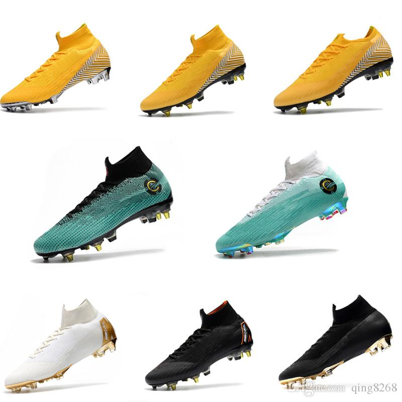 the latest c9684 40857 Mens Mercurial Superfly VI 360 Elite Ronaldo FG CR soccer shoes chaussures  football boots high ankle Soccer Cleats