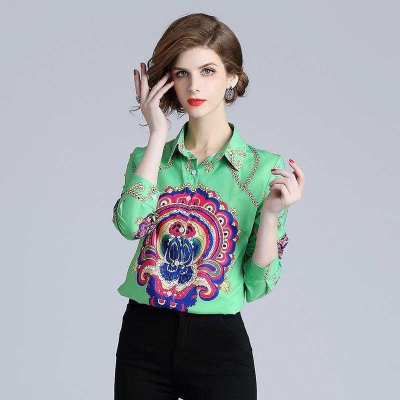 e77e7bce7 Compre Camisa Con Cuello Para Mujer Imprimir Blusa Floral Camisetas Moda  Elegante Otoño Camisa Casual De Manga Larga Ropa Plus A  31.06 Del  Sinofashion ...