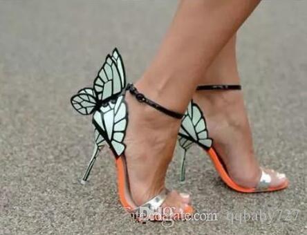 جديد صوفيا ويبستر الفراشة صنادل جلدية حقيقية الأزرق أحذية جلدية متعددة الكعب العالي مضخات الزفاف صنادل الجناح المصارعون الصيف