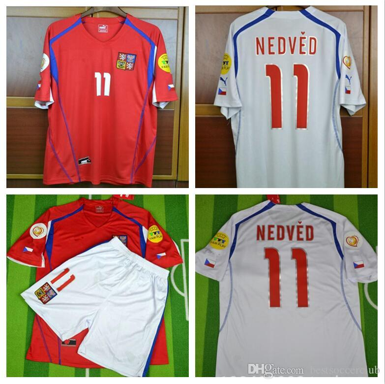 pretty nice acb01 8c504 EURO CUP 04 Czech Republic Retro Soccer Jersey home away Pavel Nedved  Champions Mens Football Shirts 2004 Czech football shirt