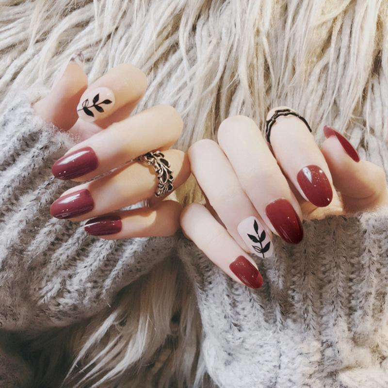 Elegant Wine Red Leaves Self Adhesive False Nails,Middle Long Small ...