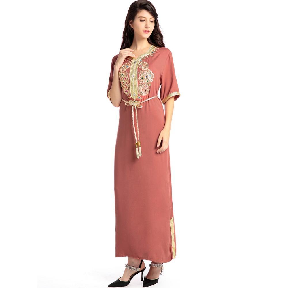 f3136136313b Acquista Abito Lungo Islamico Musulmano Manica Lunga Abito Islamico Caftano  Caftano Marocchino Maxi   Lungo Abaya Abito Etnico Turco Hijab Stile  Y1890805 A ...