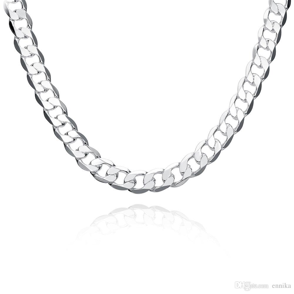 Men's 20inch 12mm Figaro Chains , Fashion 925 Silver Chains Necklaces Jewelry New Brand n202