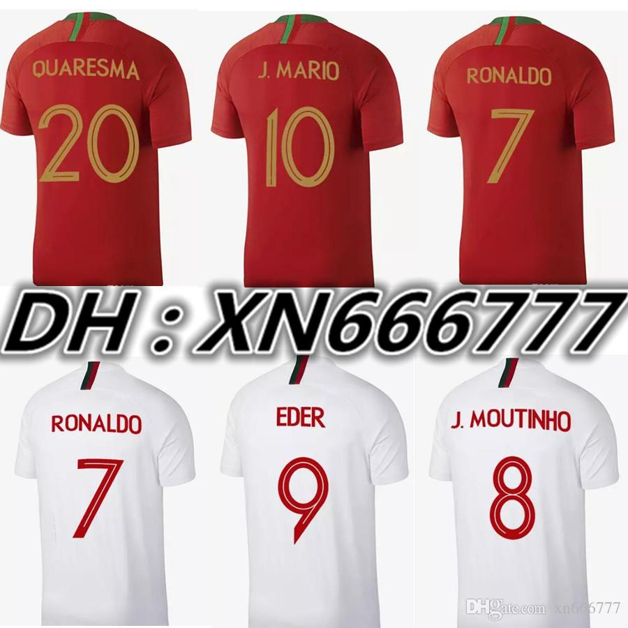 Mundial De Fútbol 2018 De Calidad Tailandesa RONALDO Camiseta De Fútbol  QUARRASMA NANI EDER Casa Lejos De Fútbol Kit De Camisetas De La Camiseta  Por ... cead71f8dbea2