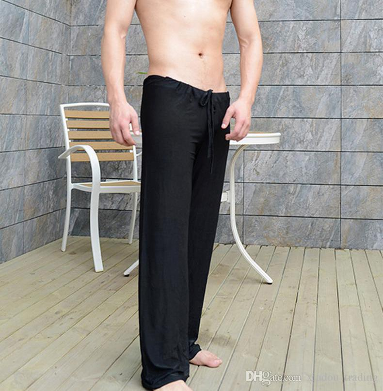 Mens Pants Man Sleep Bottoms Viscose Home Fitness Yoga Pants Loose Sexy Mens Lounge Pants Milk Silk Fashion Strap sexy Male Pajamas