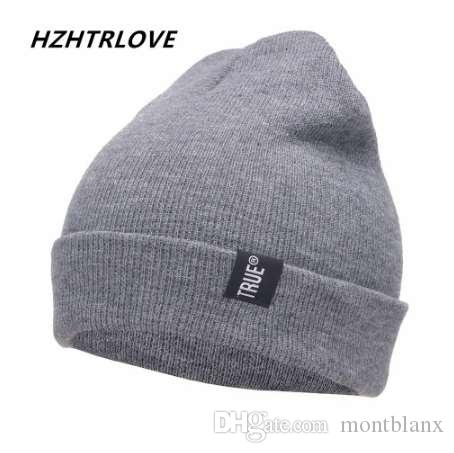 dce36d5b29d Letter True Casual Beanies for Men Women Fashion Knitted Winter Hat ...