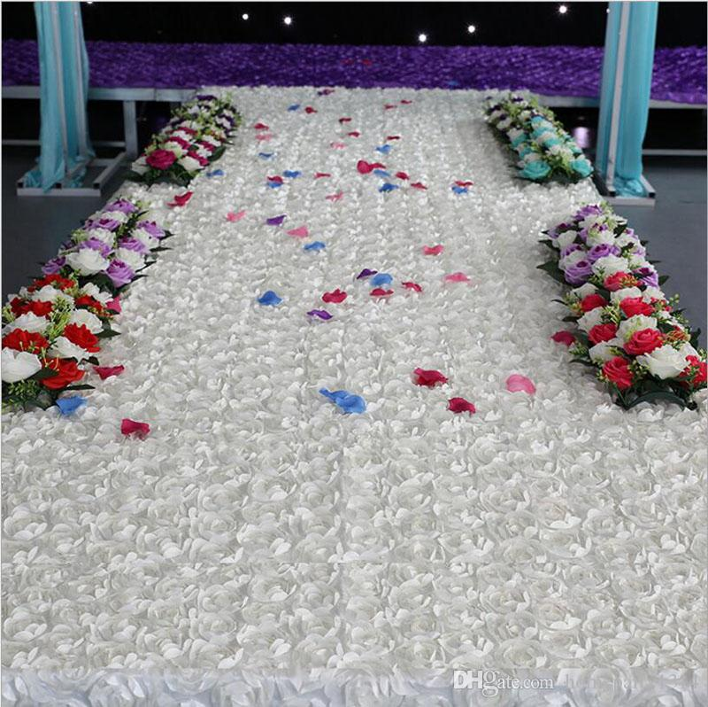3D Flower Rose Fabric Wedding carpet decoration wedding Table T-Stage Carpet Backdrop Decor Baby Photography Props Rosette Fabric