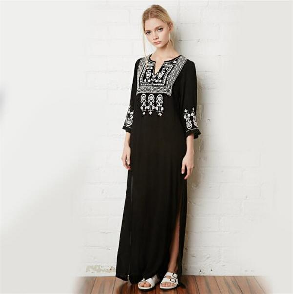 Floral Embroidery Dress V-Neck Black Vintage Maxi Dresses Cotton Holiday  Boho Chic Ethnic Split Beach Women Clothing Floral Embroidery Dress Maxi  Dresses ... ebe9f426a