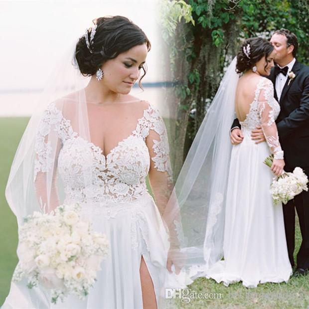 Discount 2018 Modest Plus Size Bohemian Beach Wedding Dresses Long ...