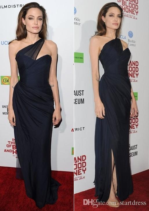 Angelina Jolie Black Navy Chiffon One Shoulder Formal