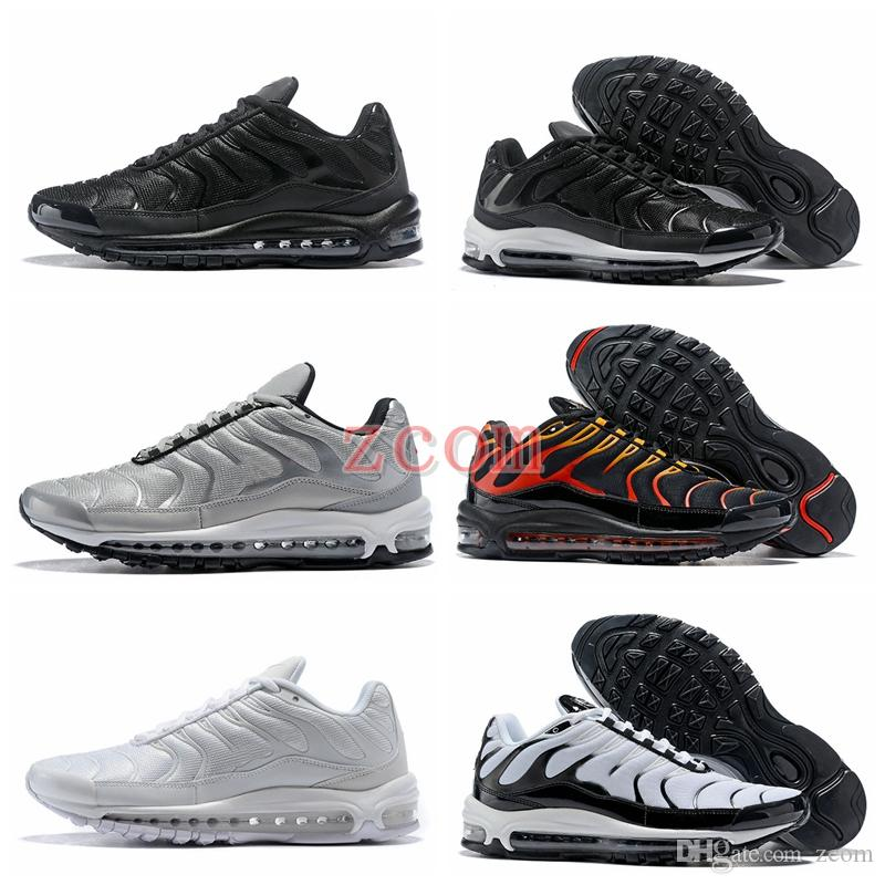 d094fd5862f2f6 2018 Chaussures 97 97s Ultra Running Shoes Brand Designer Tn Plus SE Og  Pure Black Breath Cushion Women Mens Trainers Sneakers Zapatos Tns Running  Shoes Men ...