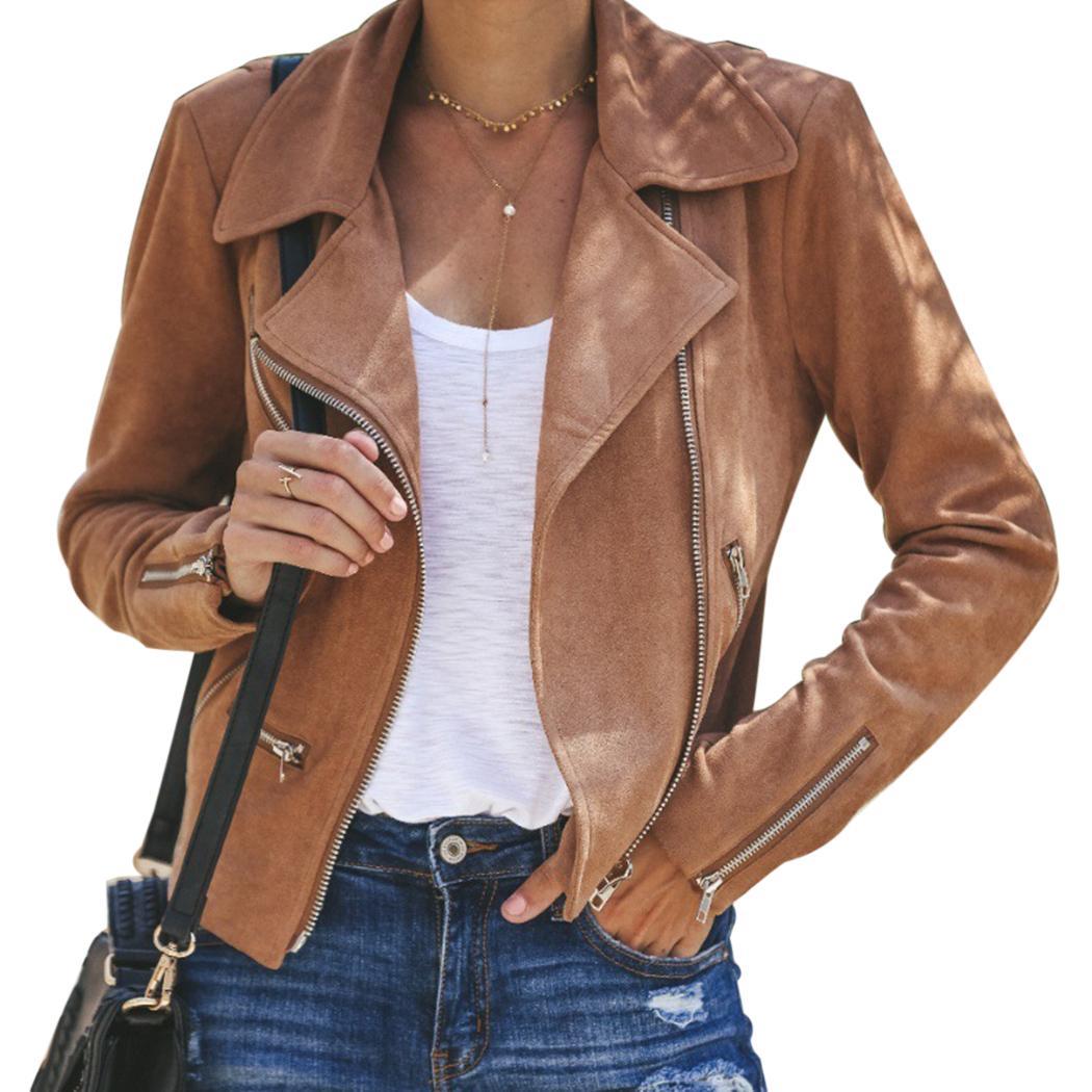 2750252c2e Giacca in pelle scamosciata con maniche lunghe donna in camoscio 2018  Giacca in pelle con risvolti invernali per moto biker Moto Chaqueta Mujer