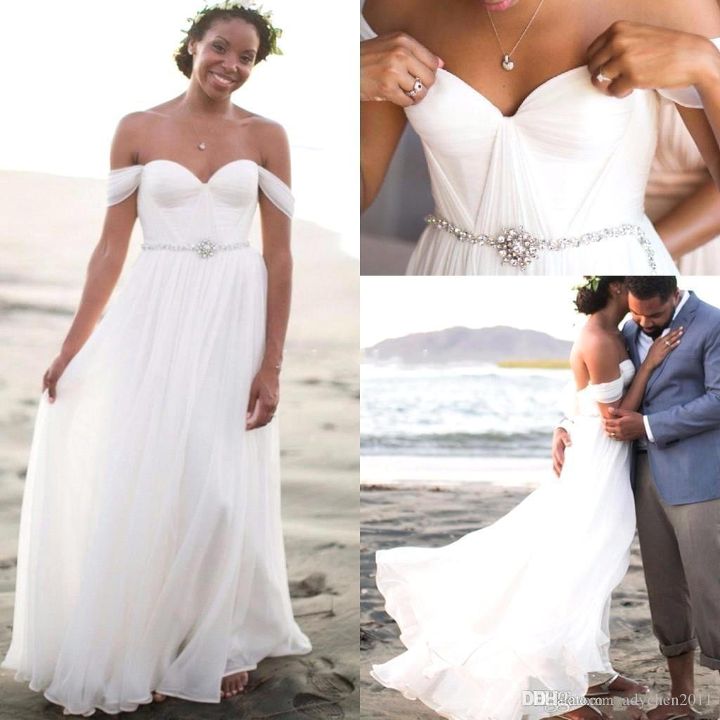 2018 Beach Boho Wedding Dresses Off Shoulder Backless A Line Sweep Train Pleats Crystals Sash Beads Bohemian Country Bridal Gowns Africa