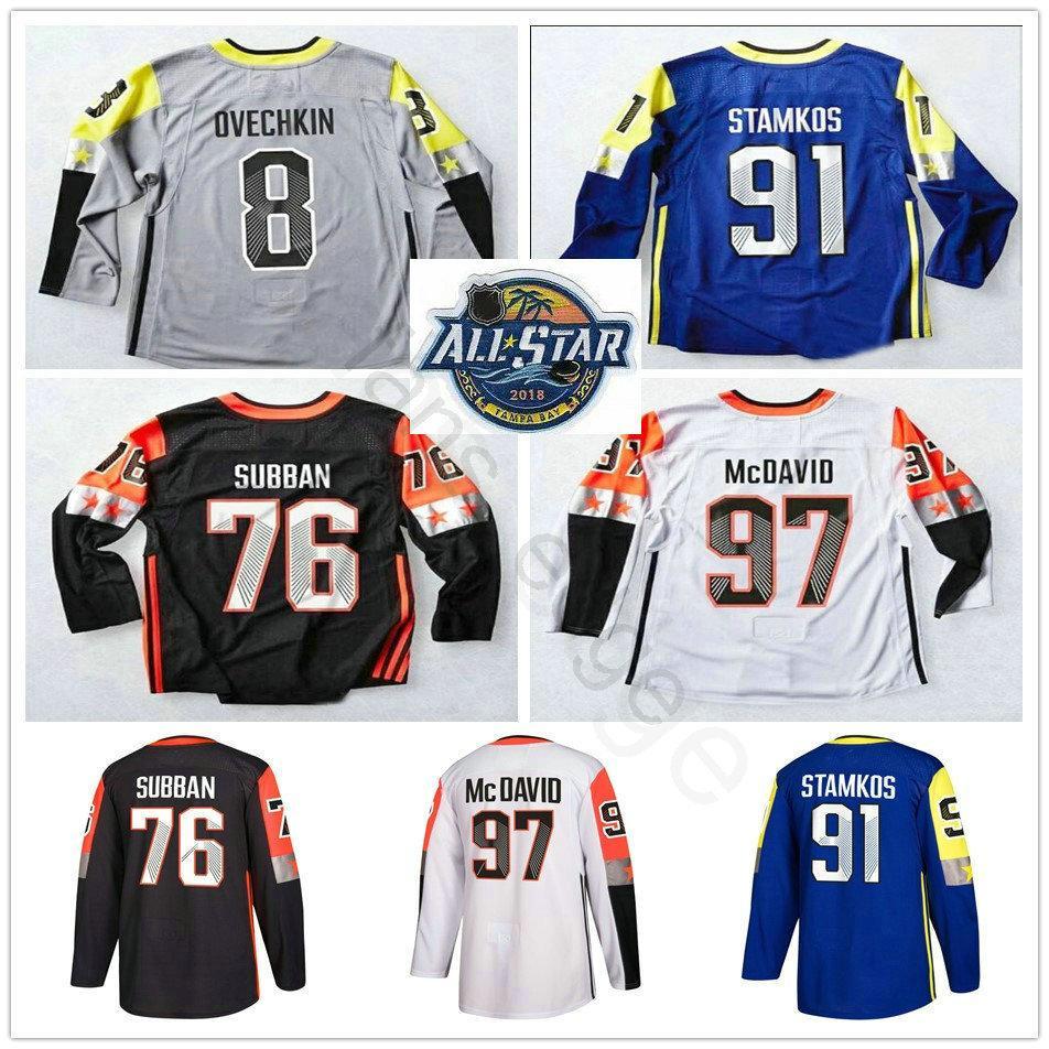new arrival 42731 ec41d 2018 All Star Ice Hockey Jerseys 97 Connor McDavid 8 Alex Ovechkin 76 P.K.  Subban 91 Steven Stamkos Jersey Blue White Gray Black