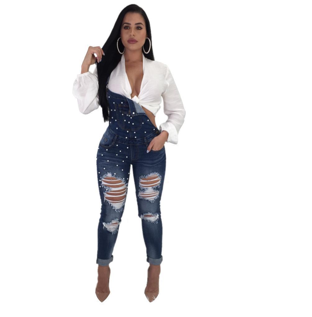 a2fe0e580646 Ripped Holes Denim Jeans Straps Denim Jumpsuit Rompers Trousers 2018 New  Fashion Women Ladies BIB Pants Overalls Jumpsuits Cheap Jumpsuits Ripped  Holes ...